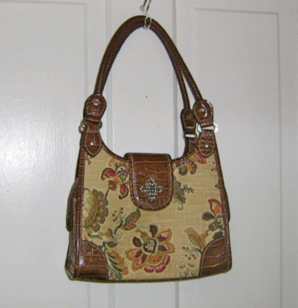Rossetti Floral Floral Bag with Brown Trim #900579