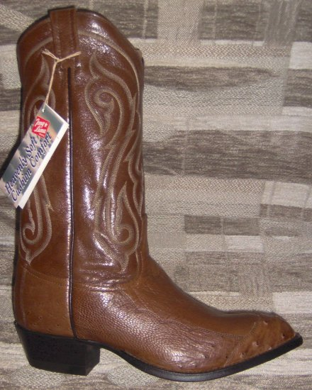 TONY LAMA Coffee Smooth OSTRICH NEW Men's Cowboy Boots 10 D FREE SHIPPING