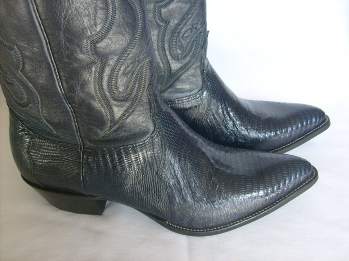 NOCONA Navy Blue LIZARD NEW Cowboy Boots Men's 13 D Free Shipping