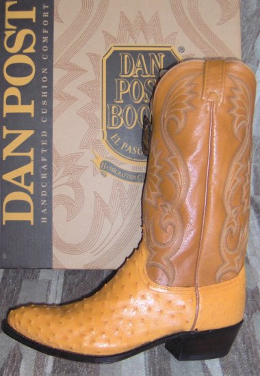 DAN POST Buttercup Full Quill OSTRICH NEW Cowboy Boots 11.5 D FREE SHIPPING