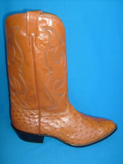 NOCONA Cognac Full Quill OSTRICH New Cowboy Boot Men's 15 EE FREE SHIPPING