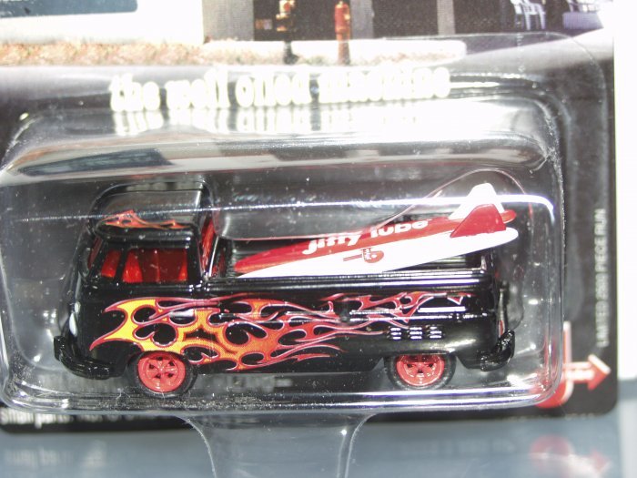 Johnny Lightning Liberty Promotions Jiffy Lube '65 VW Type 2 Pickup...Black/Red Flames