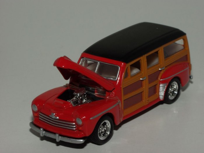Hot Wheels 2001 100% Black Box 1948 Merc Woody..Red..1/64 Scale Loose