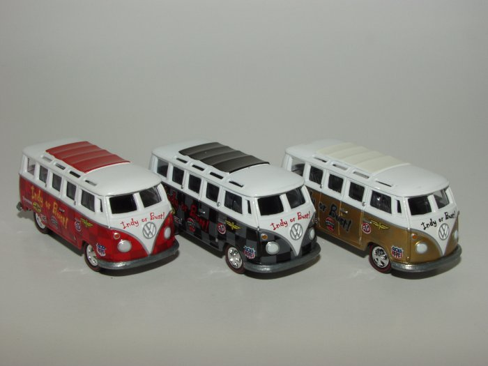 Johnny Lightning Liberty Promo JL '66 VW Ragtop Bus Indy or Bust 3 Car Set 1/64 Scale Loose