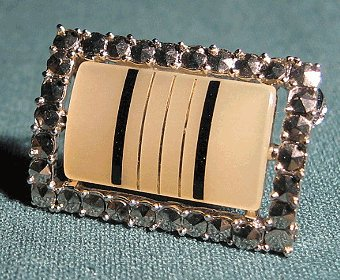 Black and White Pearly Satin Brooch With Marcasite Vintage