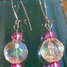 Princess Pink And Iridescent Aurora Borealis Sparkle Drop Earrings Silver Handmade New