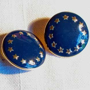 Blue Enamel Earrings With Gold Stars Large Round Nautical Patriotic Button Pierced Earrings