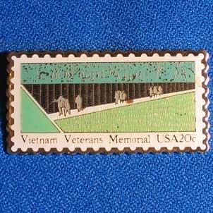 Vintage Vietnam Veterans Memorial USA Stamp Golden Cloisonne Pin