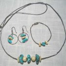 Silver And Chunky Turquoise White Stone Vintage Bracelet Earrings Necklace Set Native American Theme