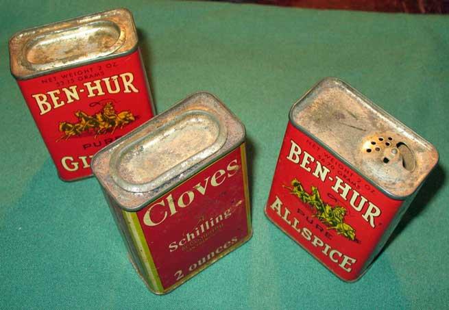 Lot 3 Vintage Spice Tins Ben Hur Allspice Pumpkin Pie Kitchen Decor