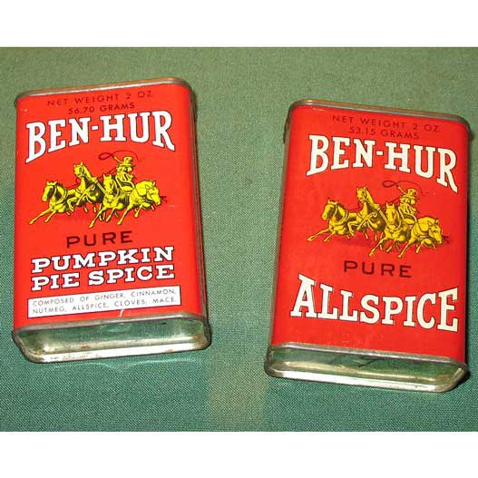Set 2 vintage spice tins ben hur allspice pumpkin pie for Retro kitchen set of 6 spice tins