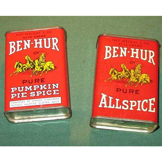 Set 2 Vintage Spice Tins Ben Hur Allspice Pumpkin Pie Kitchen Decor