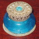 Vintage Blue Glass and Shiny Metal Small Jewelry Trinket Box