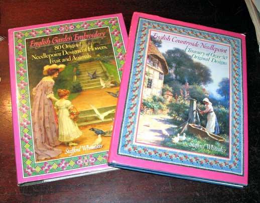 Set 2 Elegant Needlepoint Books By Staffard Whiteaker 1st Ed HC Florals Fruits