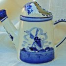 Vintage Delft Blue and White Hand Painted Watering Can with Windmill