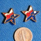 Unique Patriotic Star Stud Earrings Red White And Blue 4th of July Cloisonne Vintage