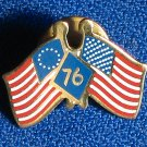 USA Crossed Flags Pin 1771 2009 Patriotic 4th Of July Pinback Red, White Blue Cloisonne Vintage