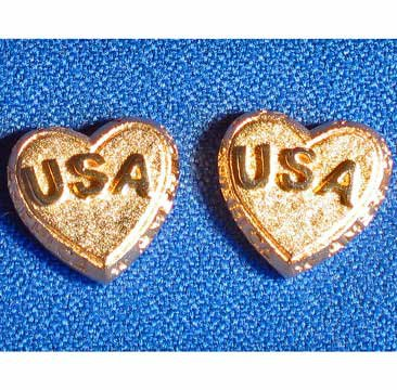 Unique Pair America USA Heart Shaped Goldtone Stud Earrings