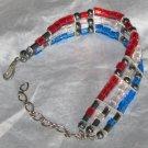 Red, white and blue artisan glass bead patriotic bracelet