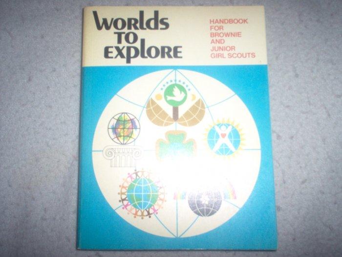 Girl Scout Vintage 1977 Worlds to Explore Handbook book Brownies Juniors