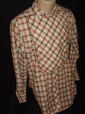 Vintage 60s H BAR C Pearl Snap Western Shirt Sz S Small