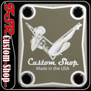 (C0003) CHROME VINTAGE PIN-UP/PINUP Neck Plate fits telecaster/stratocaster Guitar/Bass