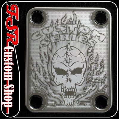 (C0021) CHROME SKULL/FLAMED NECK PLATE FITS GUITAR NECK/BODY