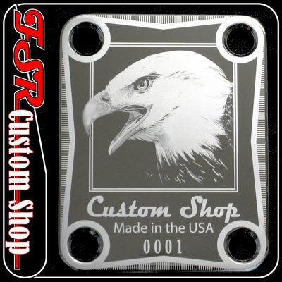 (C0010) CHROME EAGLE NECK PLATE fits squire tele/strat guitar
