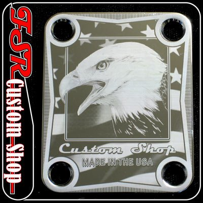 (C0016) CHROME USA EAGLE FLAG NECK PLATE fits 4bolt body/neck