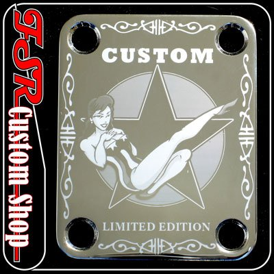 (C0020) CHROME CUSTOM LIMITED EDITION PIN-UP GUITAR NECK PLATE