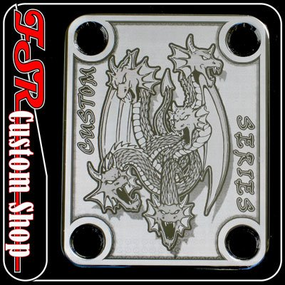 (C0017) CHROME DRAGON CUSTOM NECK PLATE fits 4 bolt neck/body