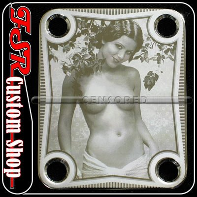 (C0011) Chrome PIN-UP ART PLATE fits 4bolt neck/body guitar bass