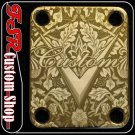 (G0004) GOLD CUSTOM NECK PLATE fits squire/tele,strat, bass