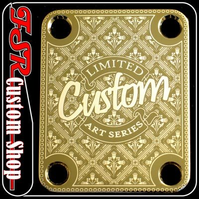 (G0028) GOLD CUSTOM ART NECK PLATE fits squire/tele/strat/bass