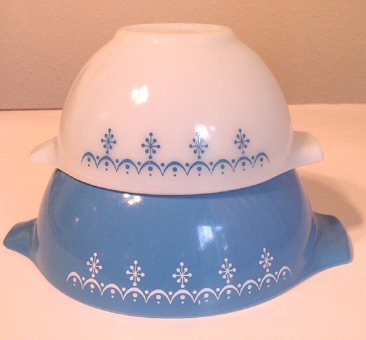 SOLD Two Vintage Pyrex Snowflake Pattern Cinderella Handle Kitchen Mixing Bowls SOLD