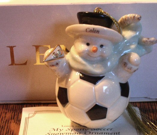 Lenox Fine China My Sporty Soccer Snowman  Ornament Colin Handpainted 24 Karat Gold Mint In Box