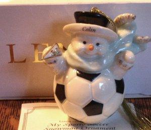 Lenox Fine China My Sporty Soccer Snowman  Ornament Colin Handpainted 24 Karat Gold Mint In Box