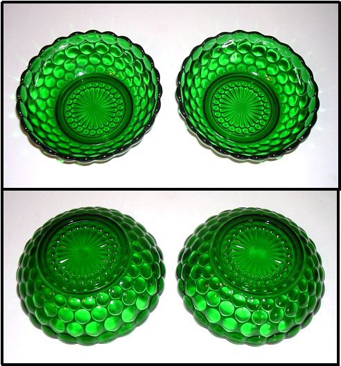 Anchor Hocking Forest Green Bubble Pattern Berry Bowls / Set Of Two