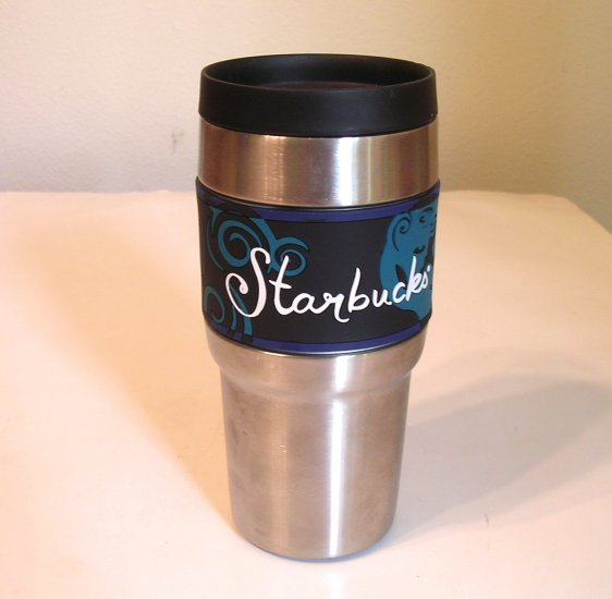 SOLD Vintage Stainless Steel Starbucks Coffee To Go Mug 16 OZ Rubber Grip SOLD