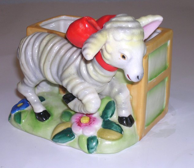 Vintage Lamb with Red Bow and Flowers Planter Vase Made In Japan