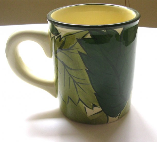 Vintage Large Starbucks Coffee Barista Mug / Green Leaf Design  2001