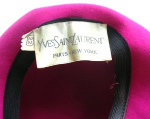 Yves Saint Laurent Paris Vintage Hot Pink Felt Hat / Designer YSL Vinatge Hat 1970