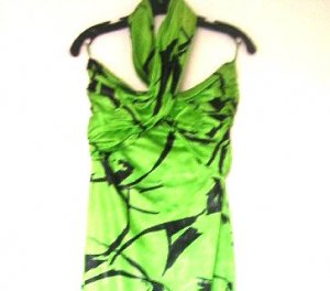 Jean Louis Scherrer Vintage Couture Dress / Green Black Halter Dress 1980