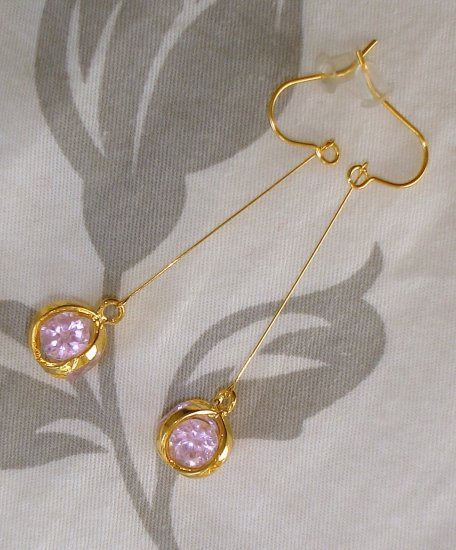 FACETED Pink Sapphire QUARTZ Dangle Earrings