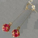 Faceted Ruby Quartz Dangle Earrings