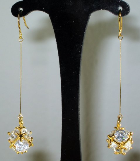 Faceted Clear Quartz Dangle Earrings