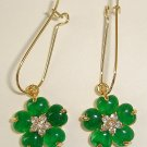 SPARKLING Emerald Diamond Flower Earrings