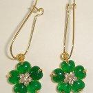 SPARKLING Emerald Diamond Flower Earrings
