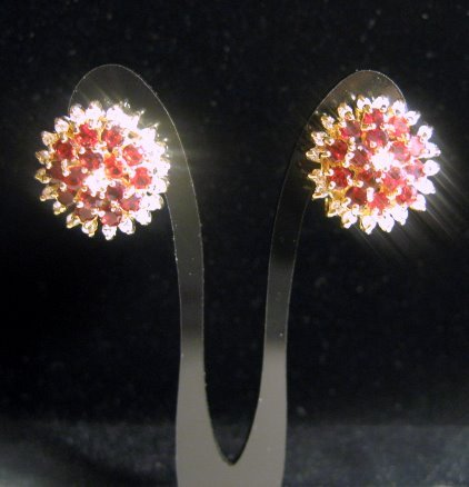 FACETED Ruby Cubic Zirconia Gemstone QUARTZ Studs