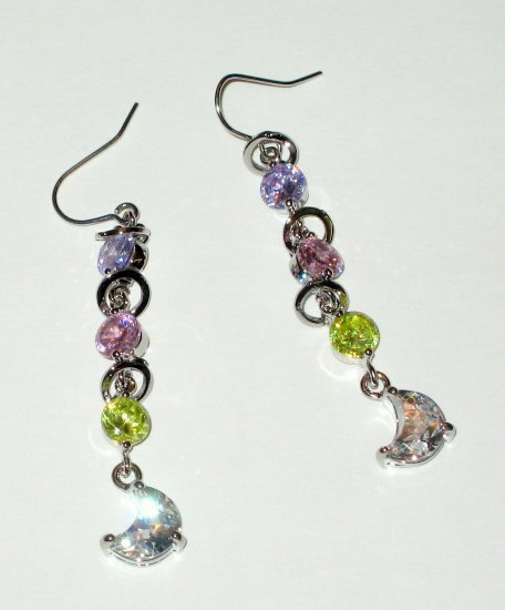 Amethyst, Emerald &Topaz Quartz Dangle Earrings